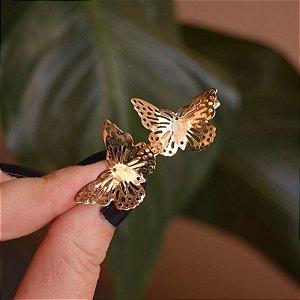 Presilha bico de pato metal borboletas dourado