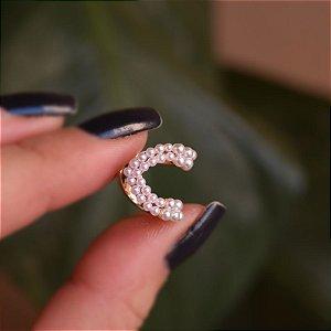 Piercing de encaixe individual mini pérola ouro semijoia