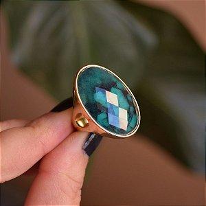 Anel oval pedra natural esmeralda ouro semijoia