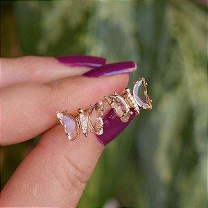 Brinco borboleta cristal zircônia ouro semijoia