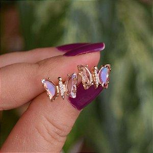 Brinco borboleta cristal rosa zircônia ouro semijoia