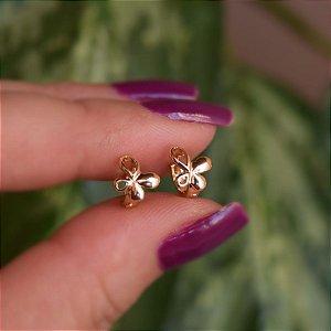 Brinco argolinha borboleta ouro semijoia