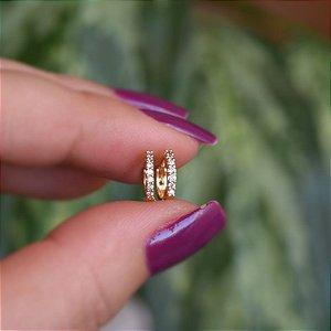 Brinco argolinha p zircônia ouro semijoia