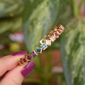 Bracelete zircônia colorida ouro semijoia
