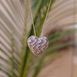 Colar coração g zircônia colorida ouro semijoia