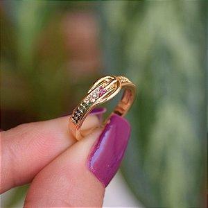 Anel ajustável fivela zircônia colorida ouro semijoia