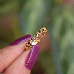 Anel ajustável cristais coloridos ouro semijoia