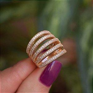 Anel 5 aros zircônia ouro semijoia