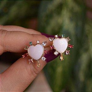 Brinco coração madrepérola zircônia colorida ouro semijoia