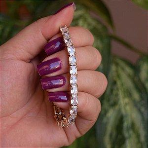 Pulseira gravatinha zircônia cristal ouro semijoia