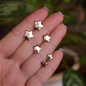 Kit 3 brincos estrelas ouro semijoia
