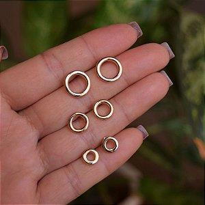 Kit 3 brincos círculos ouro semijoia