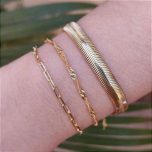 Kit 3 pulseiras corrente ouro semijoia