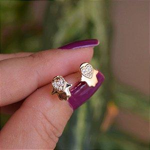 Brinco mão de fátima zircônia ouro semijoia 21a03018