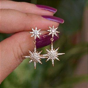 Brinco estrelas zircônia ouro semijoia 21a01013