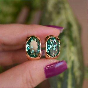 Brinco argola cristal verde ouro semijoia 21k01001