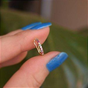 Piercing de encaixe individual zircônia colorida ouro semijoia