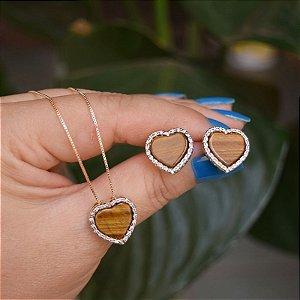 Colar e brinco coração pedra natural olho de tigre ouro semijoia