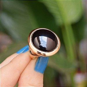 Anel redondo pedra natural ágata preta ouro semijoia