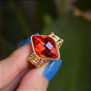Anel ajustável Leticia Sarabia losango cristal vermelho