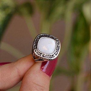 Anel losango pedra natural madrepérola prata 925