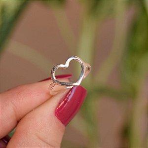 Anel coração vazado prata 925