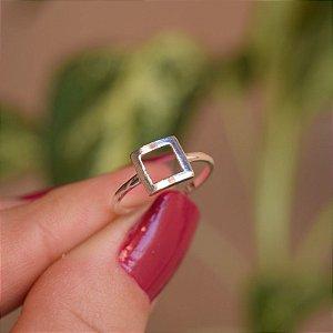 Anel quadradinho prata 925