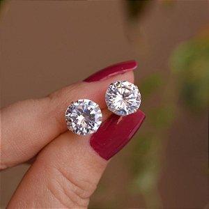 Brinco ponto de luz zircônia g prata 925 BR 740