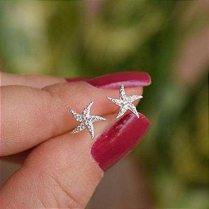Brinco estrela zircônia prata 925