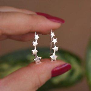Brinco ear cuff gancho estrelas prata 925