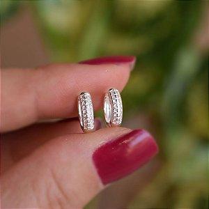 Brinco argolinha p zircônia prata 925