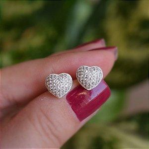 Brinco coração m zircônia prata 925