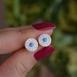 Brinco redondo olho grego zircônia prata 925