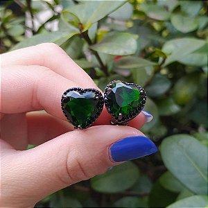 Brinco pressão coração ródio negro zircônia esmeralda semijoia
