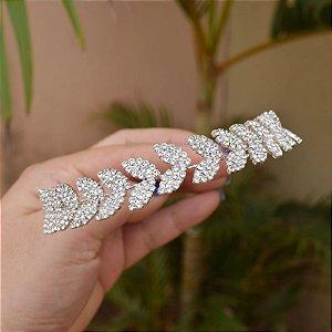 Tiara coroa noiva folhas cristais prateado