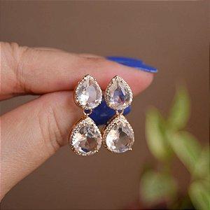 Brinco gota zircônia cristal ouro semijoia 19a12101