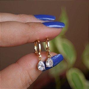 Brinco argolinha penduricalho gota zircônia ouro semijoia