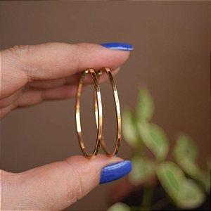 Brinco argola tubo quadrado m ouro semijoia