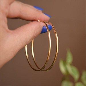 Brinco argola tubo quadrado g ouro semijoia