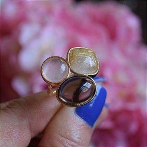 Anel ajustável 3 pedras naturais ouro semijoia