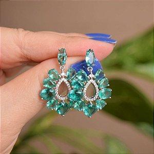 Brinco gota cristal verde ródio semijoia 17k01006