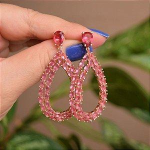 Brinco gota zircônia rosa ouro semijoia