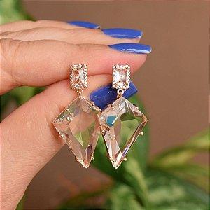 Brinco geométrico cristal ouro semijoia 18a06041