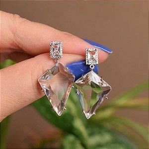 Brinco geométrico cristal ródio semijoia 18a06041