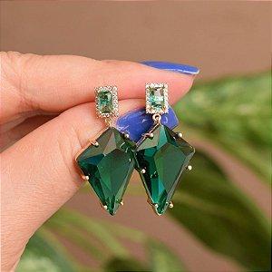 Brinco geométrico cristal verde ouro semijoia 18a06041