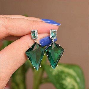 Brinco geométrico cristal verde ródio semijoia 18a06041
