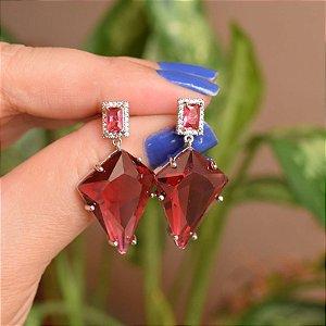 Brinco geométrico cristal rosa ródio semijoia 18a06041