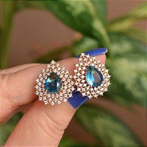 Brinco gota cristal azul zircônia ouro semijoia 18a04027