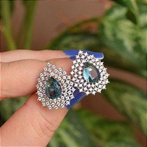 Brinco gota cristal azul zircônia ródio semijoia 18a04027