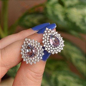 Brinco gota cristal lilás zircônia ródio semijoia 18a04027